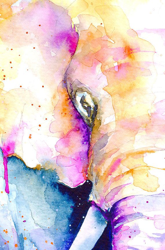 Elephant Watercolor art Watercolor painting Animal by MyVisualArt