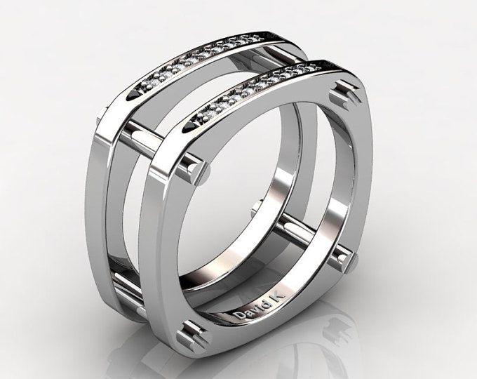 76bb2db6b008 Modern Classic 14K White Gold Diamond Designer Wedding Band R1068-14KWGD