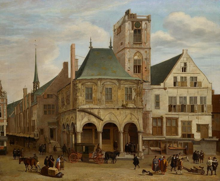 Jacob van der Ulft - oude stadhuis Amsterdam 1653 ~ The Old City Hall in Amsterdam before the fire in 1652. Copy after Pieter Jansz Saenredam.  Born