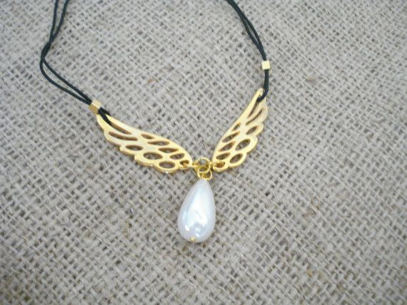 Gold wing necklace Angel wings necklace Dainty gold wing by Poppyg