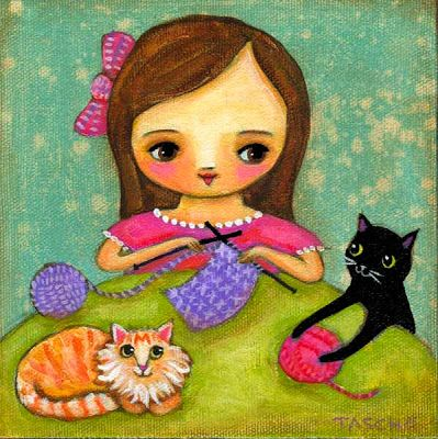 Cats and knitting girl illustration by Tascha