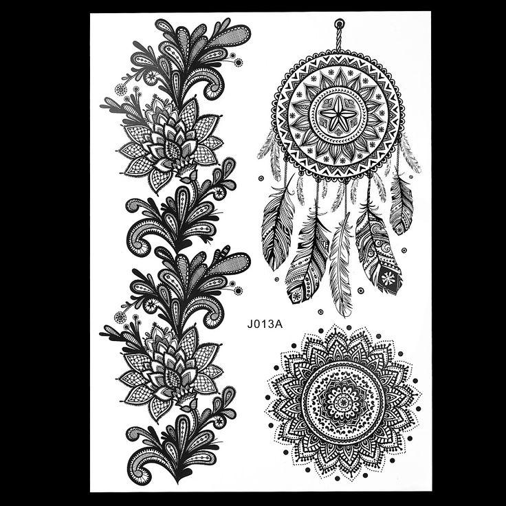 1 pz Modo Caldo Grande Indian Mehndi Henné Donne Body Art Glitter Tattoo Kit BJ013A Stile Piuma Nera Tatuaggio Temporaneo stencil