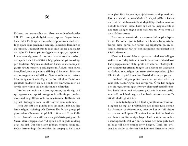 "Sample ""Isvittring"" © Solveig Vidarsdotter, Frank publishing 2013. Typesetting and Page Layout: Sebastian Leon Hermfelt."