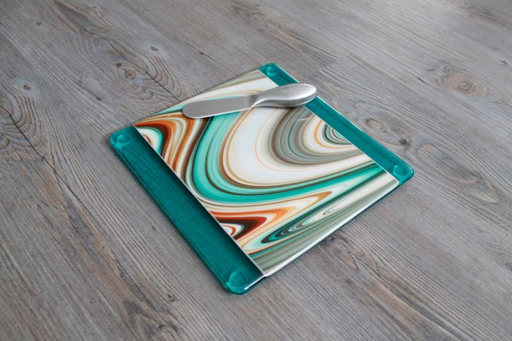 Teal, Brown, Cream and Burnt Orange Fused Glass Cheese Board & Spreader; Fused Glass Plate; Glass Serving Plate; Southwestern by UniqueGlassTreasures on Etsy