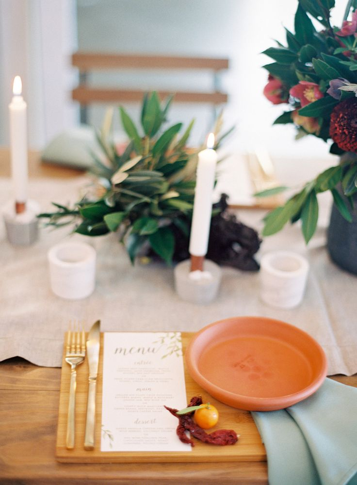 French organic table setting, terracotta, gold, olive.  Reception Venue: Osteria, Casuarina Photography: Byron Loves Fawn Styling: Little Gray Station Hire: Hampton Event Hire Florals: Rose Apple Flowers Stationery: September Creative