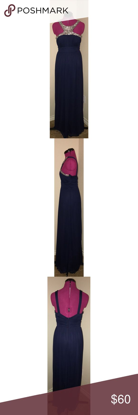 Prom/Formal maxi dress Navy maxi dress. Silver jeweled neckline. Good condition ❗️WORN ONCE❗️ Dresses Prom