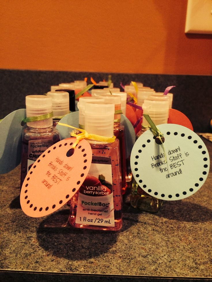 Mini hand sanitizers with custom tags for Staff Appreciation Week.