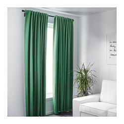 IKEA - WERNA, Block-out curtains, 1 pair, , The curtains prevent most light from entering and provide privacy by blocking the view into the room from outside.Effective at keeping out both draughts in the winter and heat in the summer.The curtains can be used on a curtain rod or a curtain track.The heading tape makes it easy for you to create pleats using RIKTIG curtain hooks.You can hang the curtains on a curtain rod through the hidden tabs or with rings and hooks.