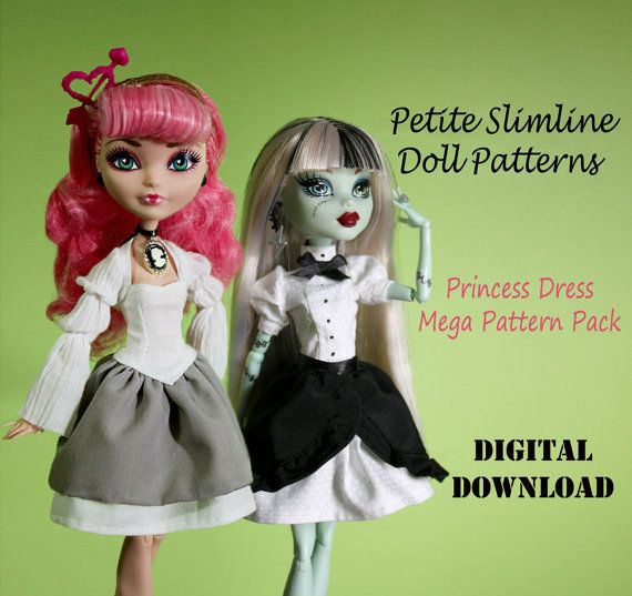 Princess Dress Mega Pack #1 clothes pattern for Petite Slimline Fashion Dolls: Ever After High, Ever After High & similar