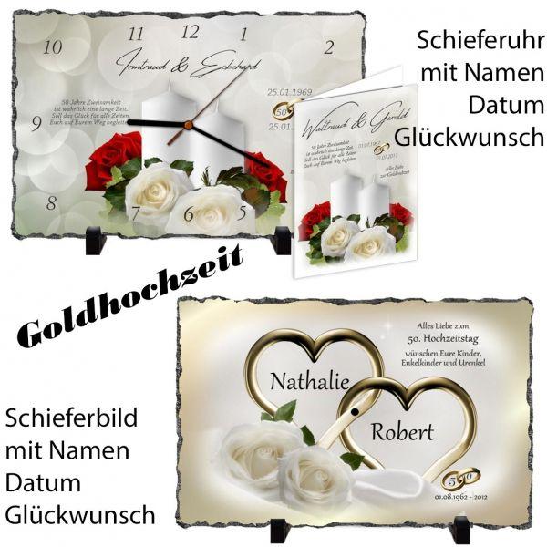 Goldene Hochzeit Geschenk Rechteckige Schiefertafel Als Uhr Oder Bild Geschenke Zur Goldenen Hochzeit Goldene Hochzeit Spruche Zur Goldenen Hochzeit