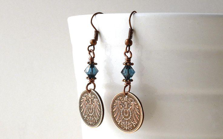 German earrings, Antique earrings, Coin earrings, Coin jewelry, Swarovski earrings, Montana blue, Coins, Eagles, Birds, Girls gift, Earrings by CoinStories on Etsy