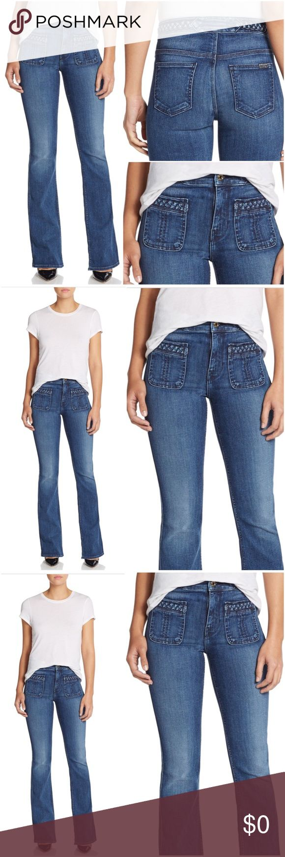 """7 For All Mankind $235* Braided Trim Flared Jeans NEW WITH TAGS.    7 For All Mankind  Braided Trim Flared Jeans SIZE: 29 RETAIL: $235.00 RISE: about 10""""-10.5"""" INSEAM: about 35.5"""" LEG OPENING: about 20""""-20.5"""" Cotton/Spandex 7 For All Mankind Jeans Flare & Wide Leg"""