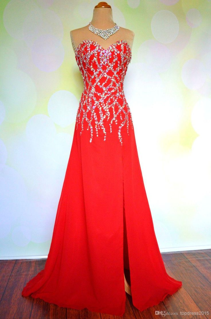 Wholesale Red beaded sparkle long chiffon prom dress sexy split floor length sweetheart strapless pageant gown custom made A line formal dress, Free shipping, $165.04/Piece   DHgate Mobile