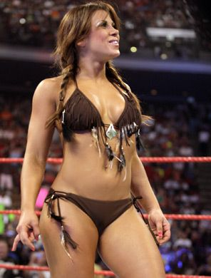 Back when WWE put divas in sexy situations...Mickie James wore hot Native American bikinis like this!