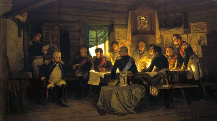 'Kutuzov and his staff in the meeting at Fili village' by Aleksey Kivshenko