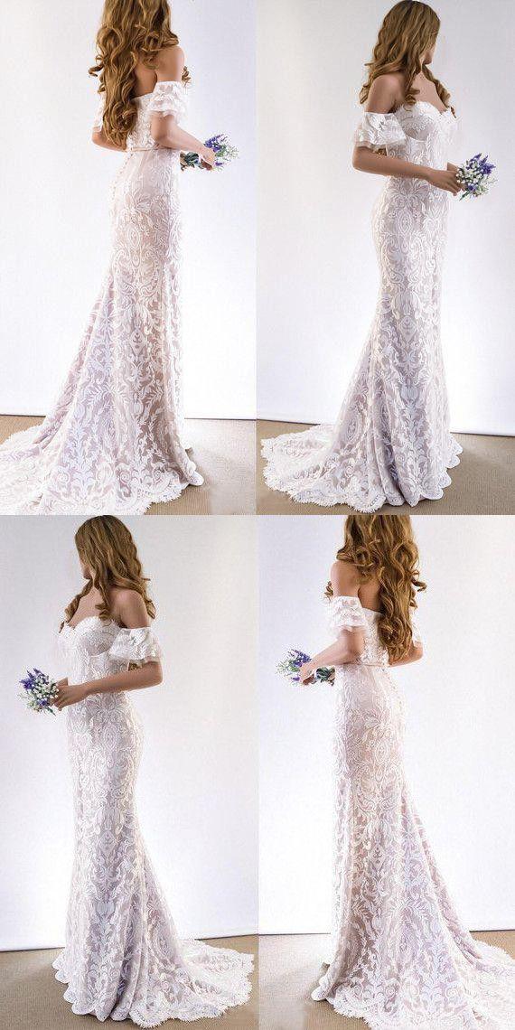 Lace Wedding Dresses Sheath Off The Shoulder Short Sleeve Romantic