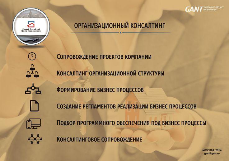 Консалтинговое агентство https://gantbpm.ru/proekty/konsaltingovoe-agentstvo/  В 2014 году сотрудники компании GANTBPM осуществили консалтинговое сопровождение агентства недвижимости.  В ходе работы было осуществлено проведение организационного консалтинга, сопровождение проектов агентства недвижимости.  В результате был сформирован необходимый подход к рабочим процессам компании, созданы регламенты и стандартизирована деятельность предприятия с подбором соответствующих программ…