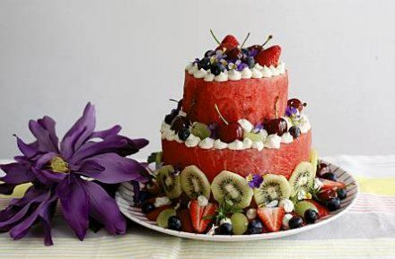 water melon cake - just water melon, nothing else! decorated with fruits and flowers.