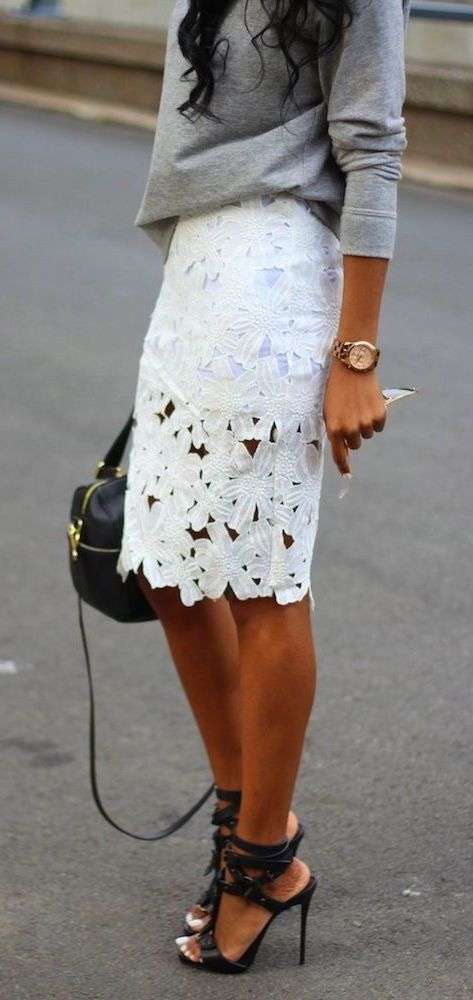 #spring #outfits Grey Sweater + White Crochet Skirt