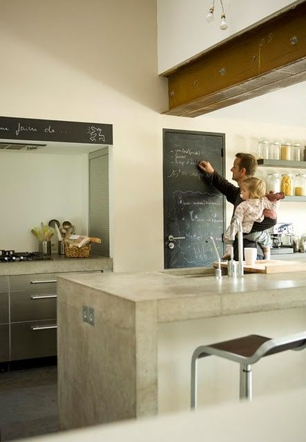 Really like the polished cement island bench  Love the chalk board idea!