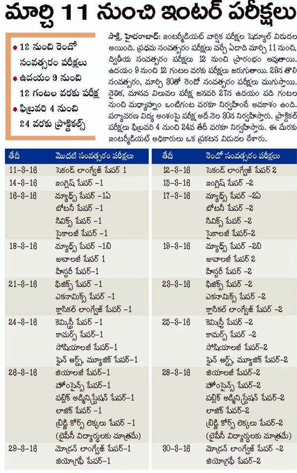 Ts Inter Time Table  St Year Nd Year Ipe Exams Dates