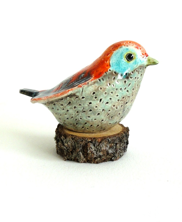 ecorock - clay bird sculpture turquoise orange