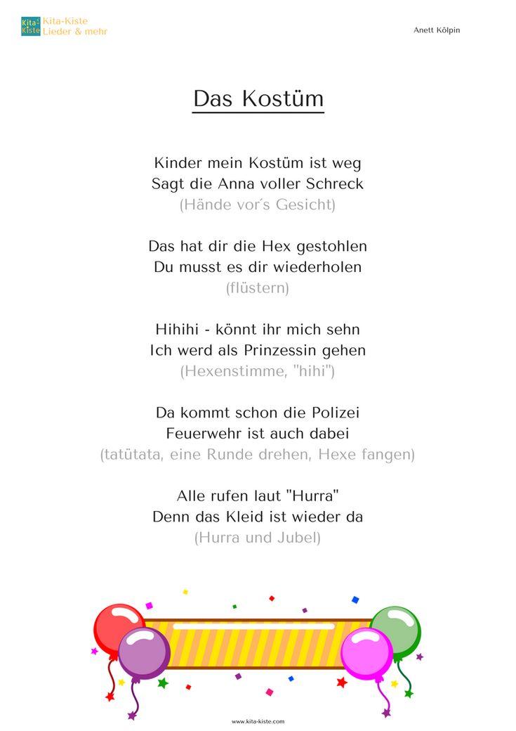 """""""DAS KOSTÜM"""" :-) - Fingerspiel mit Bewegung - nach jedem Zweizeiler improvisieren (""""Gemein!"""", """"Ihr kriegt mich nie!"""", """"Halt! Stehenbleiben!"""" usw.) www.kita-kiste.com"""