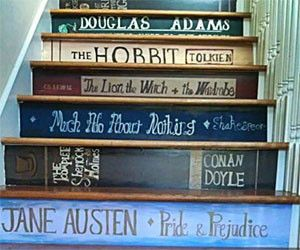Classic Book Staircase Stickers $92.81 <--- Ooooo!!: Books Stairs, Houses, Books Stairca, Staircase, Book Stairs, Basements Stairs, Cool Ideas, Books Lovers, Favorite Books