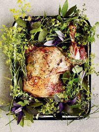 Slow-roast mutton shoulder with garden herbs