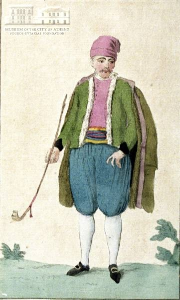 CL.L. DESRAIS (1746-1816) (painter) & MISCELLE (MIXELLE) (engraver) Mans attire from Zakynthos island 1788, coloured etching on paper, 18 x 12 cm