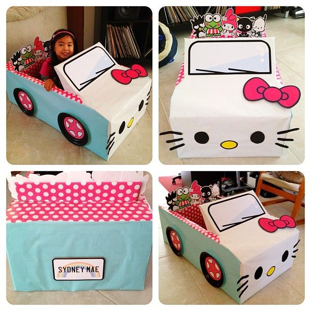 Introducing Sydney Mae's HK-mobile for the annual drive-in day at her pre-school. It's so her! #thethingswedoforourkids #pimpmyride #hellokitty #boxcar #cardboardboxcar #sanrio #instamaemae