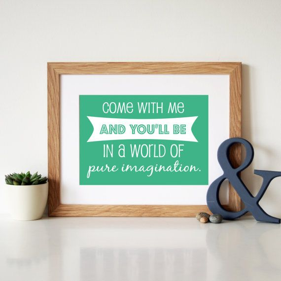 Willy Wonka 'Pure Imagination' Song Lyric Art by Hopeandlovedesign, £17.00