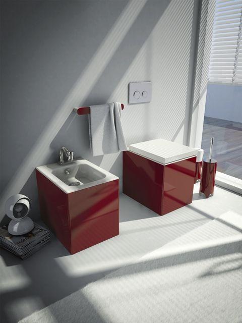 Block, design Meneghello Paolelli Associati. #sanitari #sanitaries #design #bathroom #ArtCeram #decor #red