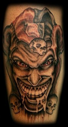 evil jester tattoo evil jester i like the face of this one