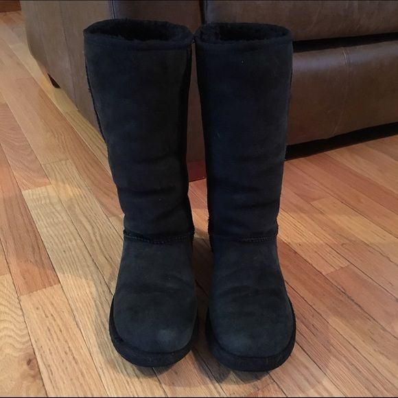 Tall black Uggs I purchased these from another Posher and wore them twice and actually got a pair for Christmas. The Posher I purchased these from said they are in great condition, only worn a few times, outside looks great but fur on inside bottom is worn down from foot. I believe she wore these more than a few times, but they're still in great condition! I washed them right when I got them with my Ugg Care Kit and sprayed them with Ugg Protectant. UGG Shoes Winter & Rain Boots