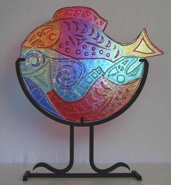 Salish Salmon fused glass sculpture by PaulineOlesen on Etsy