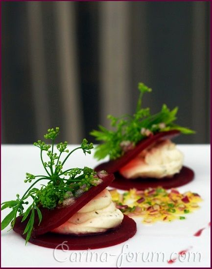 Pickled beets with goat cheese