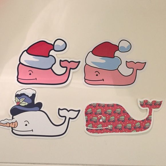 4 Vineyard Vines Holiday Edition stickers 4 Vineyard Vines Holiday Edition stickers. 2 Whale with Santa hat and 1 Red Whale with Christmas tree on car design. 1 Snow Whale. $3 each or all for $10 Brand new, never used Vineyard Vines Accessories