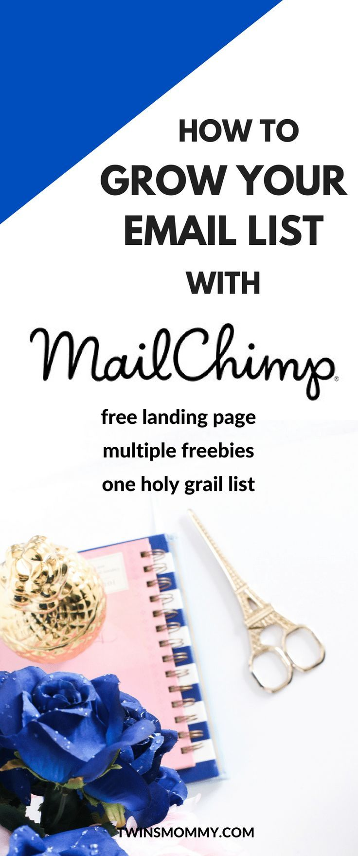 Interested in MailChimp email marketing? If you're a new blogger, starting an email list can be daunting. But, if you use MailChimp the way I do, you'll have no problem. Create a custom MailChimp template and MailChimp newsletter with ease. Also, create landing pages for free and multiple freebie optins with ease. | MailChimp tips | email marketing | start a list | grow your email list | mom blogger | grow your blog