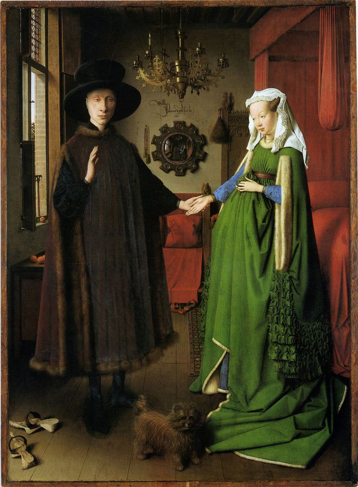 Jan van Eyck.  Marriage of Arnolfini 1434.   I cut this out of a magazine when I was in grade school.  Finally saw the original at the Louvre.  Love.