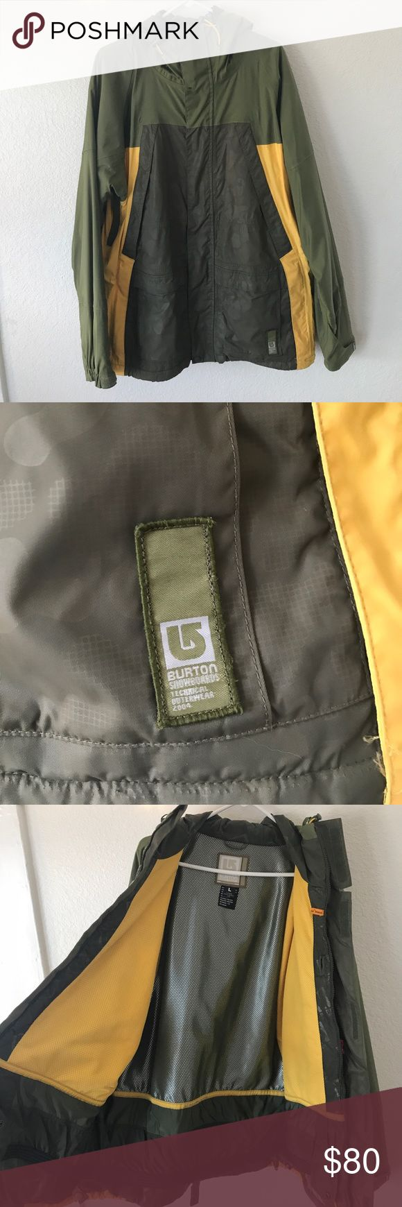 BURTON snowboard jacket Men's large brand new jacket. Cool army green and goldenrod yellow colors. A million pockets, great insulation and quality. Active lining system.nwot bundle and save!! Burton Jackets & Coats Ski & Snowboard