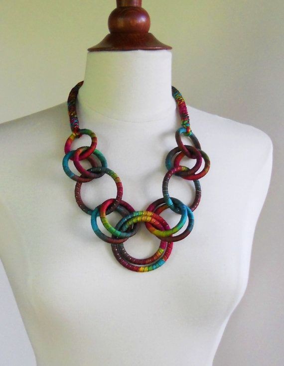 Textile Chain Statement Necklace Coleus by fiber2love