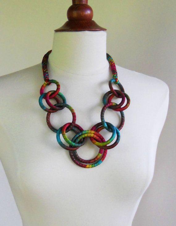 Textile Chain Statement Necklace Coleus by fiber2love
