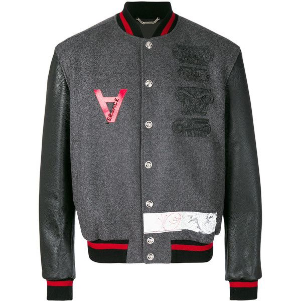 Versace embroidered bomber jacket (2,620 CAD) ❤ liked on Polyvore featuring men's fashion, men's clothing, men's outerwear, men's jackets, grey, mens collarless leather jacket, versace mens jacket, mens gray leather jacket, mens grey bomber jacket and mens leather bomber jacket