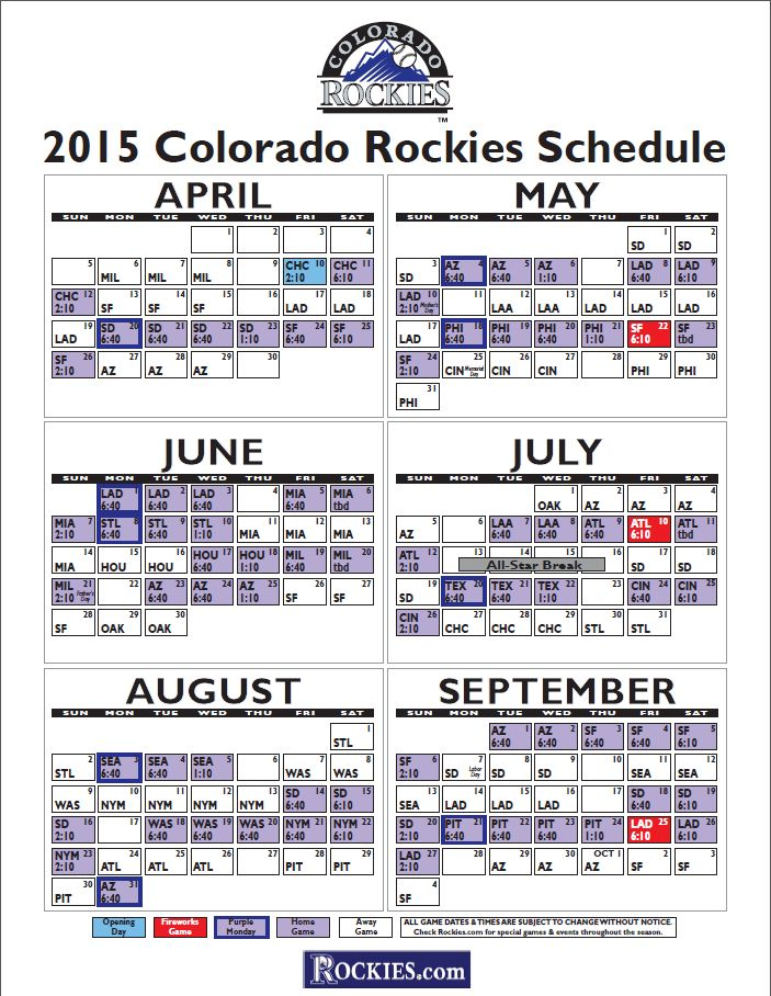 2015 Colorado Rockies Schedule