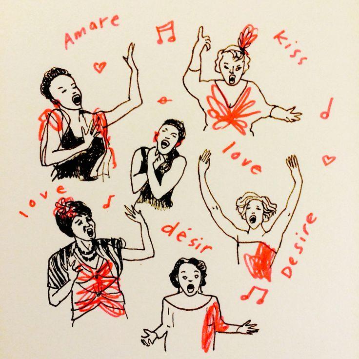Opera by Marie Åhfeldt/Mås Illustra. www.masillustra.se #opera #illustration #drawing #red #masillustra #singer