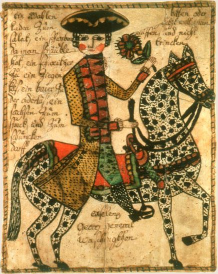 """""""George Washington""""  So-called 'fraktur' drawing. Done by Pennsylvania German artists in a style reminiscent of medieval illuminated manuscript art. The name, """"fraktur"""", actually means """"fractured writing"""" and is a reference to the pointedness of Gothic German script."""