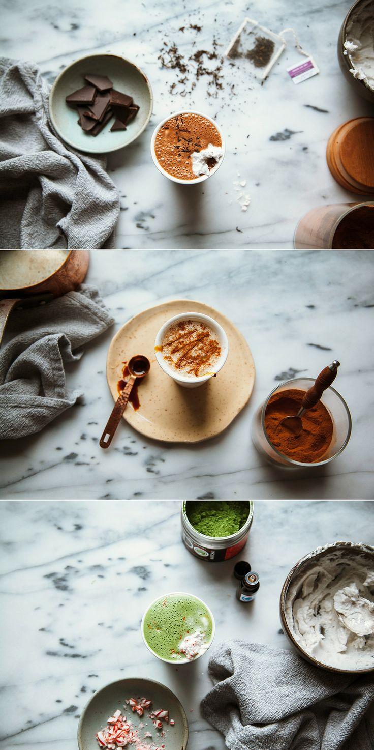 Superfood Lattes Part 2 via thefirstmess.com (early grey, lucuma + dark chocolate // ginger maple molasses // matcha mint + vanilla)