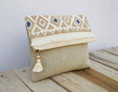 Boho Tasche, marokkanische, natürliche Farbe Leinentasche, Foldover-Kupplung, bestickt, 10 X 8 Zoll