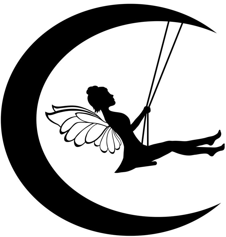 tinkerbell with moon vector  | Fairy On Moon Silhouette Fairy with moon and swings